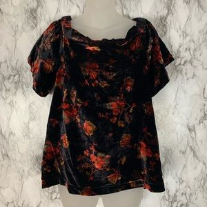 NWT LOFT Velvet Floral Flower Print Top Shirt